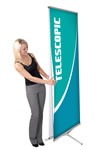 31.5 x 78.5 2-sided banner stand with pocket literature dispenser