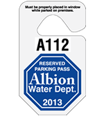 "2.75"" x 4.75"" Octagonal parking permit tag"