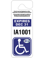 "3.375"" x 9"" Giant disabled parking permit tag"