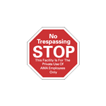 "3"" x 3"" Octagon-shaped warning sticker"