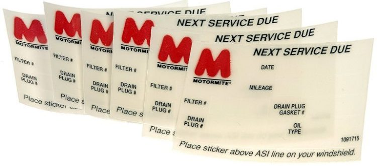 Oil Change Stickers And Custom Service Automotive Decals