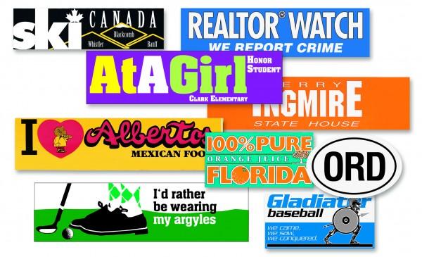 Custom removable vinyl bumper stickers decals labels