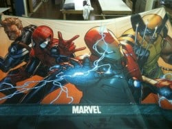 Cloth banners designed with superheroes