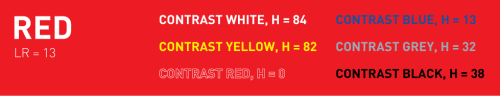 Different Color lettering on red background